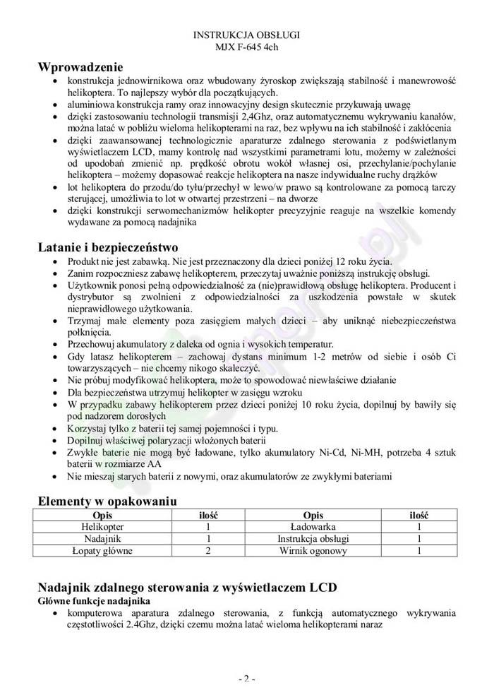 InstrukcjaHelikopteraMjxF645-2