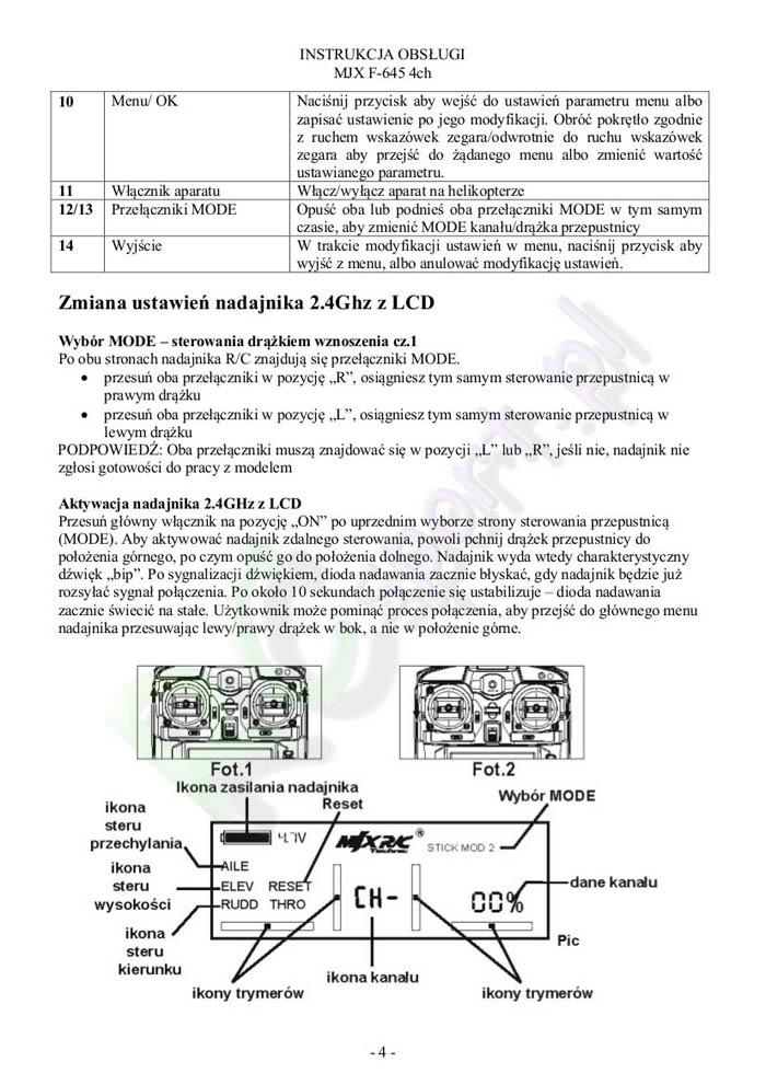 InstrukcjaHelikopteraMjxF645-4