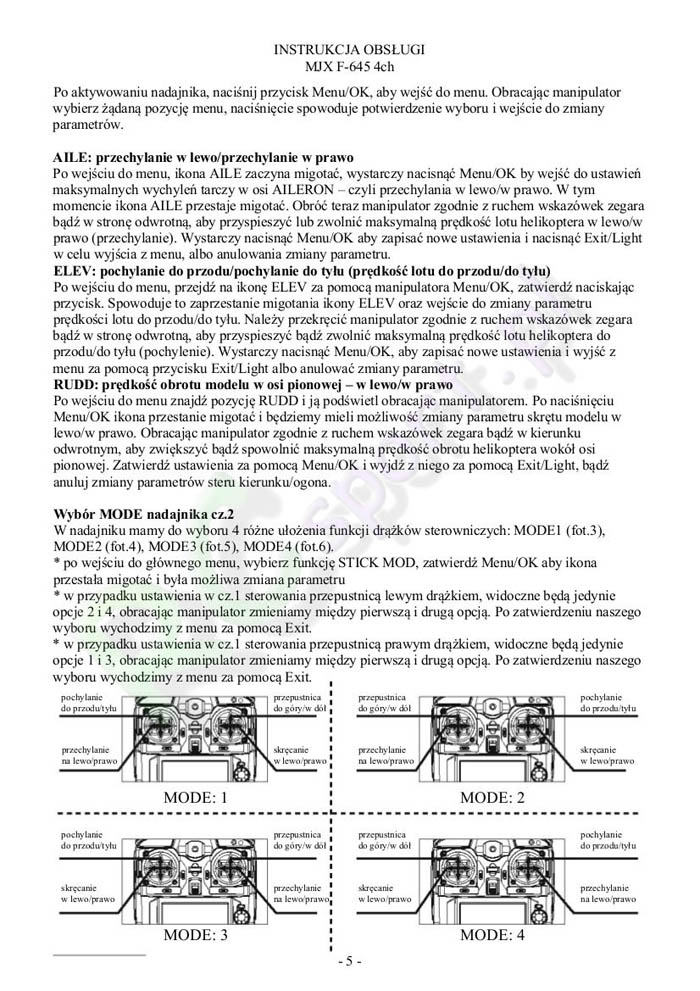 InstrukcjaHelikopteraMjxF645-5