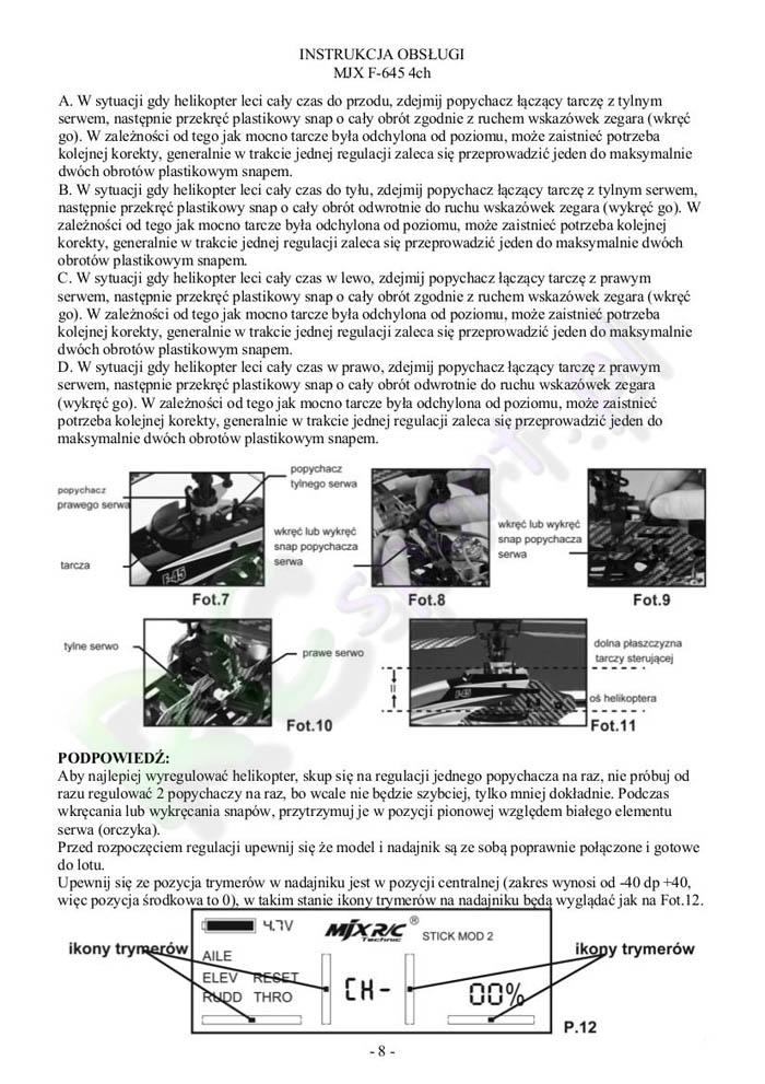 InstrukcjaHelikopteraMjxF645-8